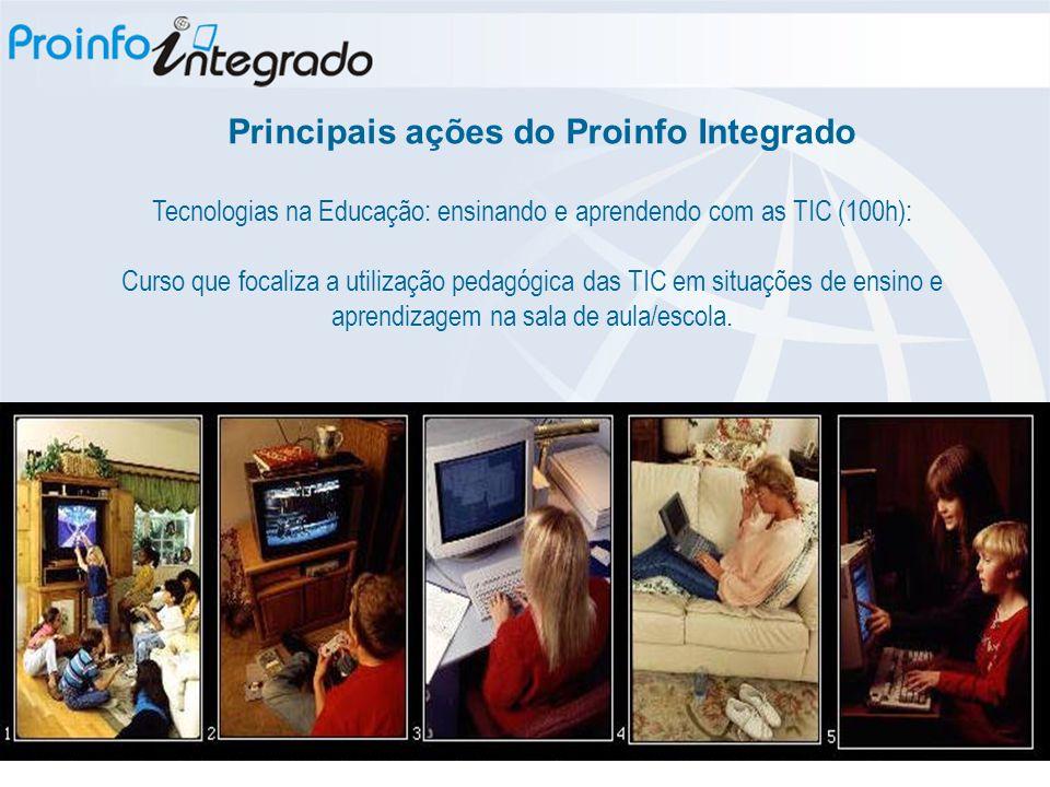 Tecnologias na Educação: ensinando e aprendendo com as TIC (100h): Curso que focaliza a utilização pedagógica das TIC em situações de ensino e aprendizagem na sala de aula/escola.