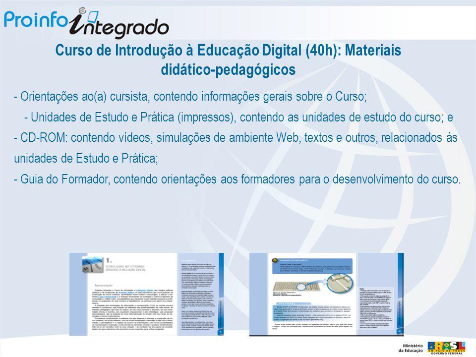 Curso de Introdução à Educação Digital (40h): Materiais didático-pedagógicos - Orientações ao(a) cursista, contendo informações gerais sobre o Curso;