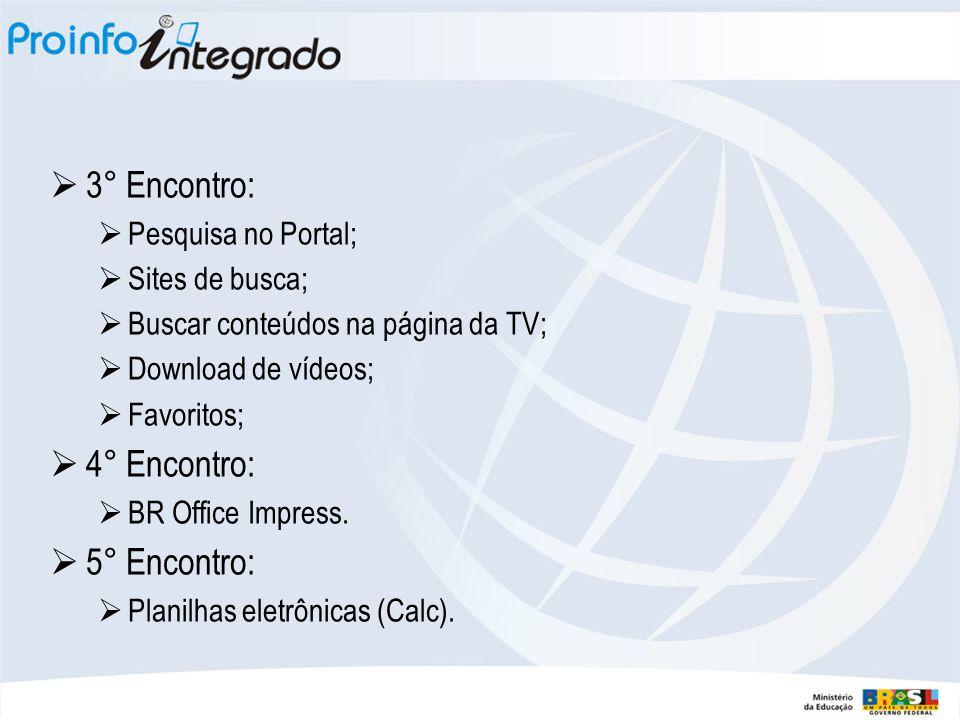 3° Encontro:  Pesquisa no Portal;  Sites de busca;  Buscar conteúdos na página da TV;  Download de vídeos;  Favoritos;  4° Encontro:  BR Office Impress.