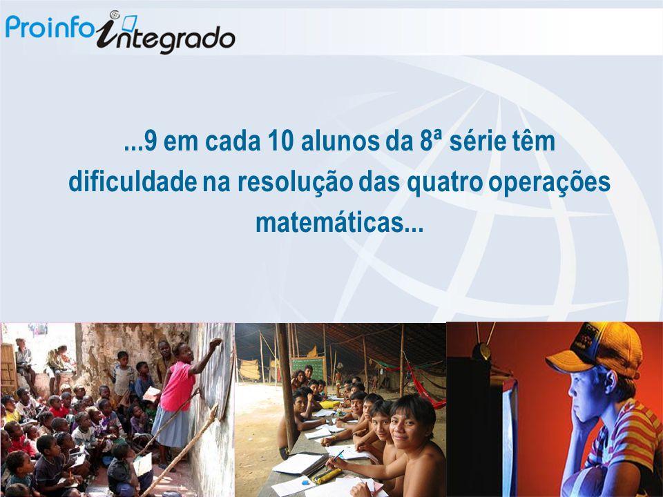 ...9 em cada 10 alunos da 8ª série têm dificuldade na resolução das quatro operações matemáticas...