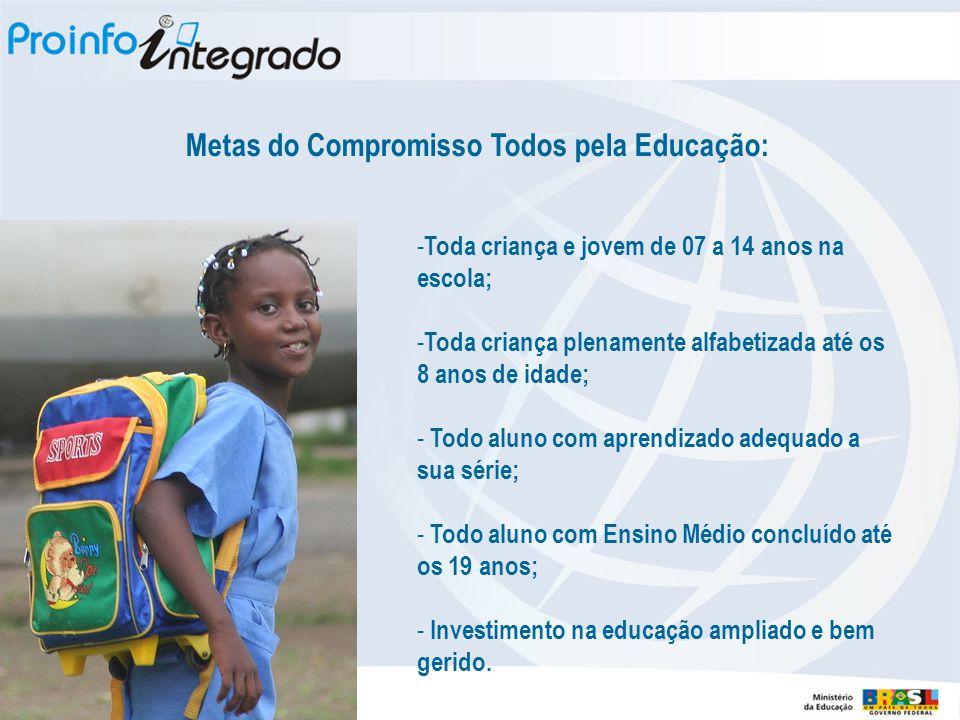- Toda criança e jovem de 07 a 14 anos na escola; - Toda criança plenamente alfabetizada até os 8 anos de idade; - Todo aluno com aprendizado adequado