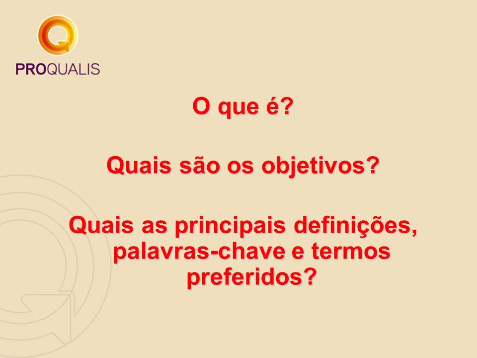 O que é? Quais são os objetivos? Quais as principais definições, palavras-chave e termos preferidos?