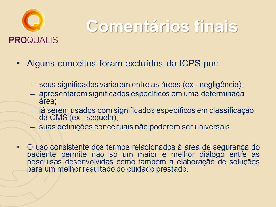 Comentários finais Alguns conceitos foram excluídos da ICPS por: –seus significados variarem entre as áreas (ex.: negligência); –apresentarem signific