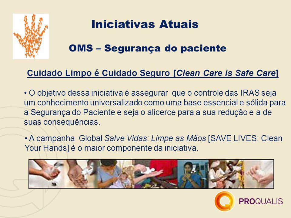 OMS – Segurança do paciente Cuidado Limpo é Cuidado Seguro [Clean Care is Safe Care] O objetivo dessa iniciativa é assegurar que o controle das IRAS s