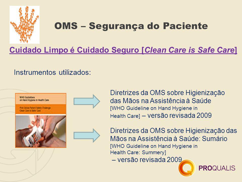 OMS – Segurança do Paciente Cuidado Limpo é Cuidado Seguro [Clean Care is Safe Care] Instrumentos utilizados: Diretrizes da OMS sobre Higienização das