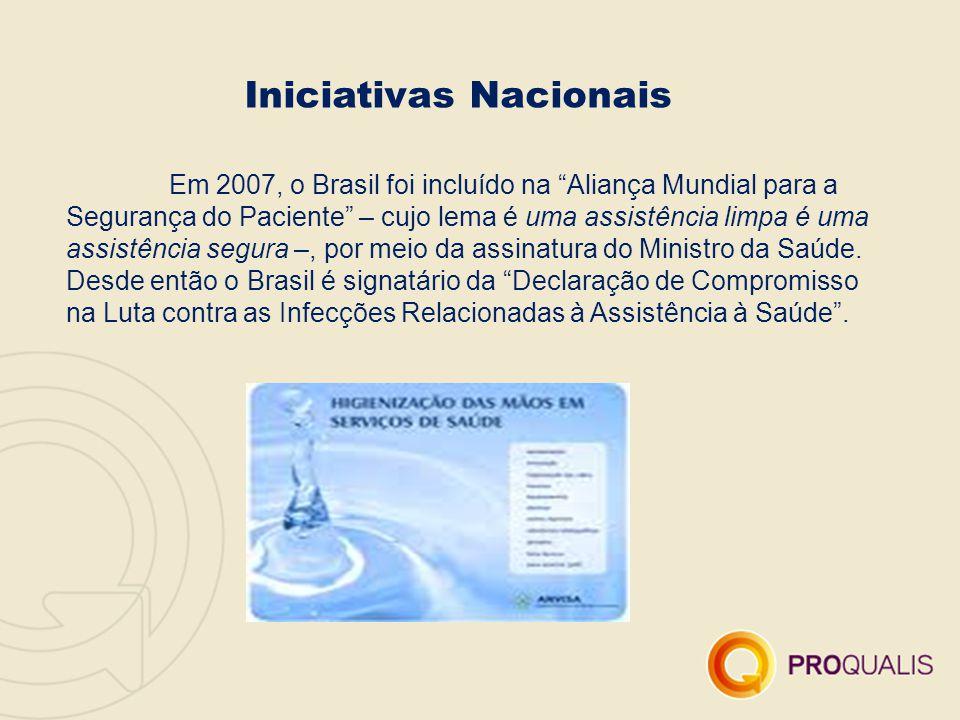 """Iniciativas Nacionais Em 2007, o Brasil foi incluído na """"Aliança Mundial para a Segurança do Paciente"""" – cujo lema é uma assistência limpa é uma assis"""