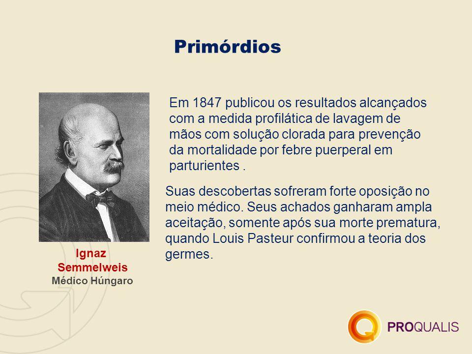 Primórdios Ignaz Semmelweis Médico Húngaro Em 1847 publicou os resultados alcançados com a medida profilática de lavagem de mãos com solução clorada p