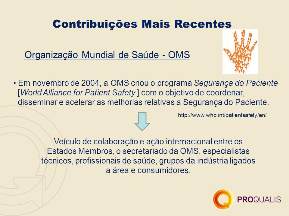 Contribuições Mais Recentes Organização Mundial de Saúde - OMS Em novembro de 2004, a OMS criou o programa Segurança do Paciente [World Alliance for P