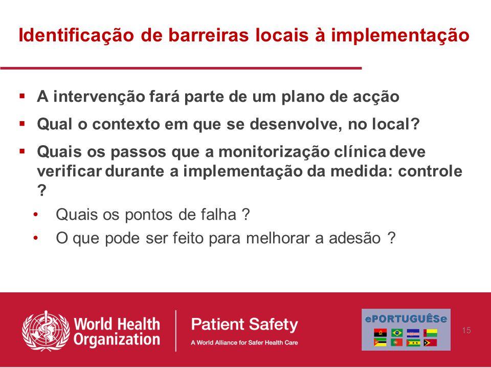 Identificação de barreiras locais à implementação  A intervenção fará parte de um plano de acção  Qual o contexto em que se desenvolve, no local.