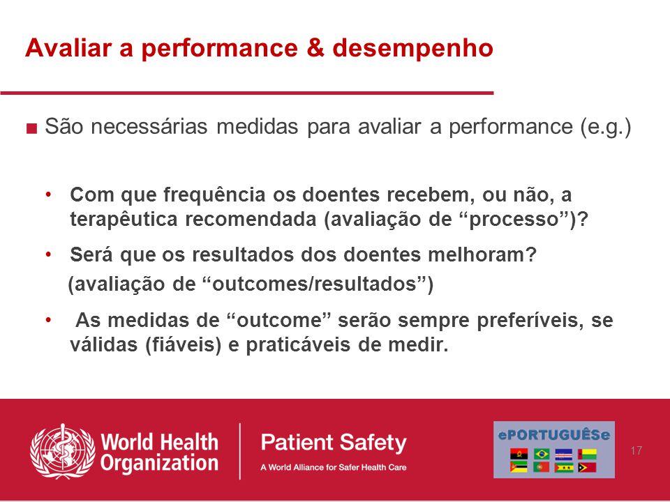 Avaliar a performance & desempenho ■São necessárias medidas para avaliar a performance (e.g.) Com que frequência os doentes recebem, ou não, a terapêutica recomendada (avaliação de processo ).