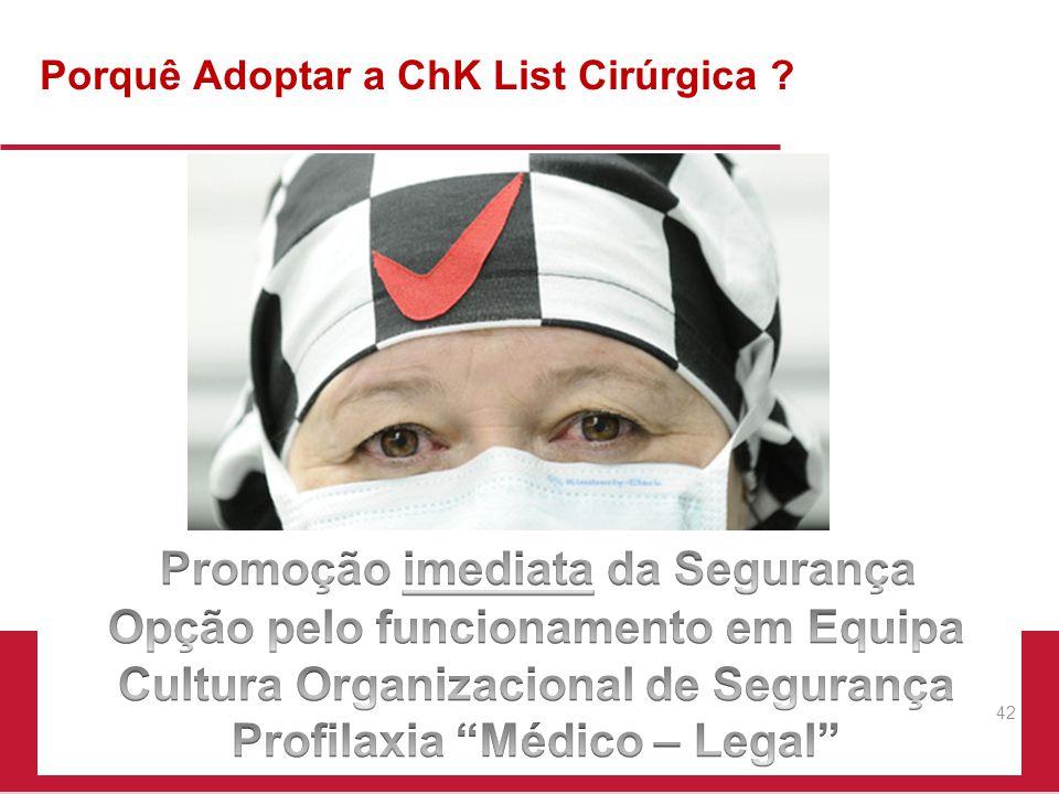 Porquê Adoptar a ChK List Cirúrgica ? 42