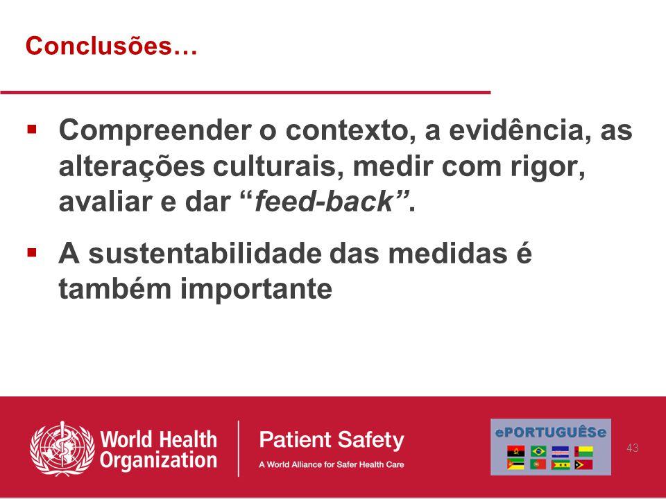 Conclusões…  Compreender o contexto, a evidência, as alterações culturais, medir com rigor, avaliar e dar feed-back .