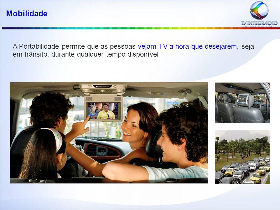 Mobilidade A Portabilidade permite que as pessoas vejam TV a hora que desejarem, seja em trânsito, durante qualquer tempo disponível