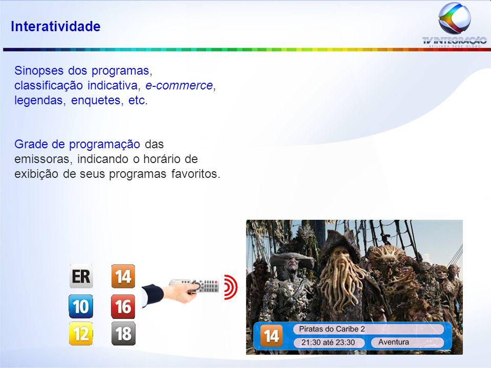 Sinopses dos programas, classificação indicativa, e-commerce, legendas, enquetes, etc.
