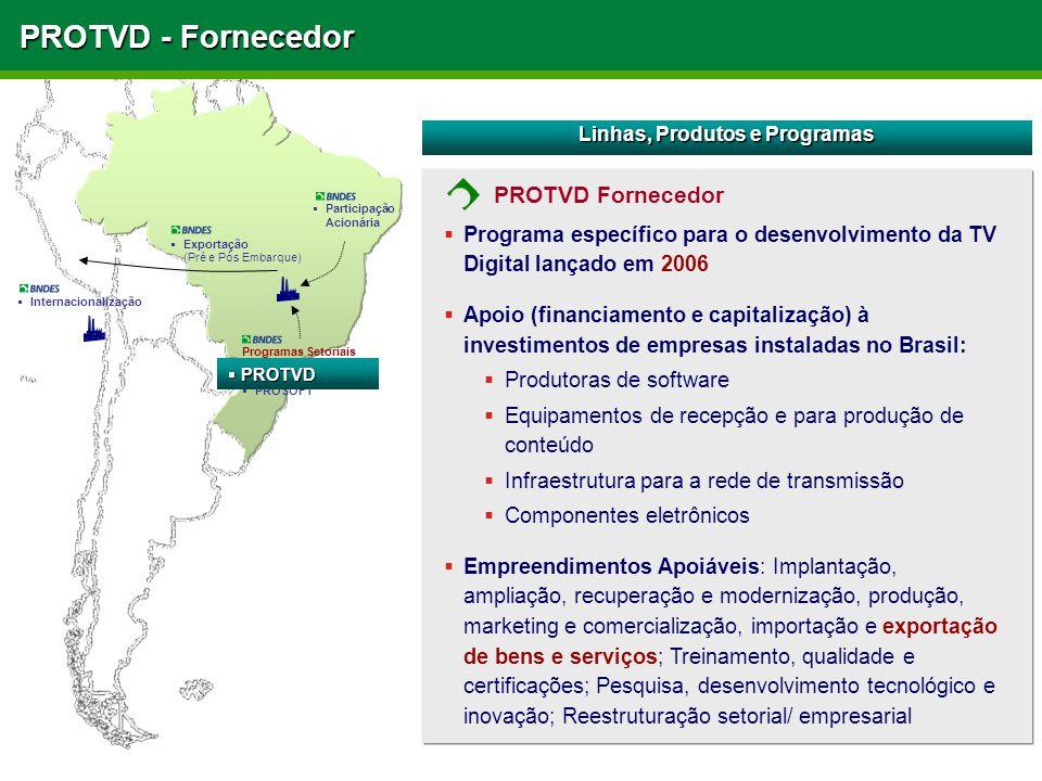PROTVD - Fornecedor  Programa específico para o desenvolvimento da TV Digital lançado em 2006  Apoio (financiamento e capitalização) à investimentos
