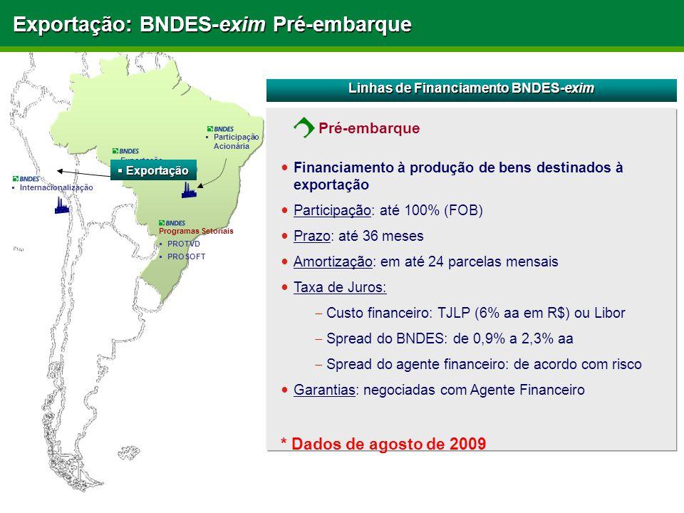 Exportação: BNDES-exim Pré-embarque Linhas de Financiamento BNDES-exim Financiamento à produção de bens destinados à exportação Participação: até 100% (FOB) Prazo: até 36 meses Amortização: em até 24 parcelas mensais Taxa de Juros:  Custo financeiro: TJLP (6% aa em R$) ou Libor  Spread do BNDES: de 0,9% a 2,3% aa  Spread do agente financeiro: de acordo com risco Garantias: negociadas com Agente Financeiro * Dados de agosto de 2009 Programas Setoriais  PROTVD  PROSOFT  Exportação (Pré e Pós Embarque)  Participação Acionária  Internacionalização  Exportação Pré-embarque