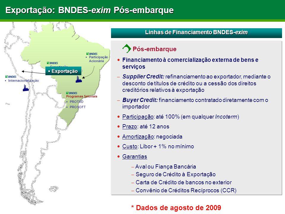 Exportação: BNDES-exim Pós-embarque Linhas de Financiamento BNDES-exim Financiamento à comercialização externa de bens e serviços  Supplier Credit: r