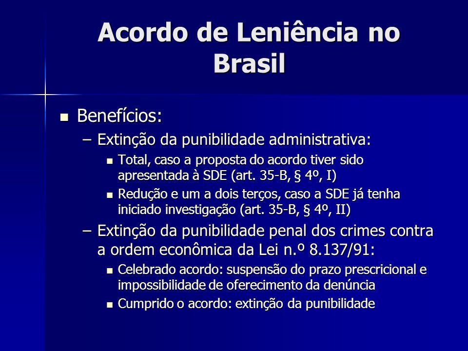 Acordo de Leniência no Brasil Benefícios: Benefícios: –Extinção da punibilidade administrativa: Total, caso a proposta do acordo tiver sido apresentad