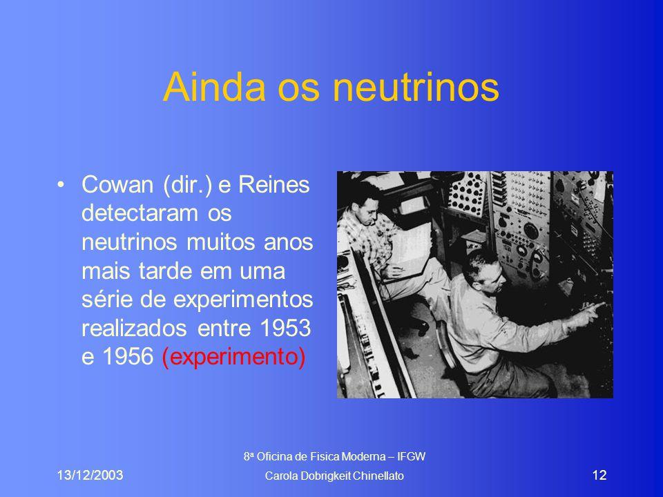 13/12/2003 8 a Oficina de Fisica Moderna – IFGW Carola Dobrigkeit Chinellato 12 Ainda os neutrinos Cowan (dir.) e Reines detectaram os neutrinos muitos anos mais tarde em uma série de experimentos realizados entre 1953 e 1956 (experimento)