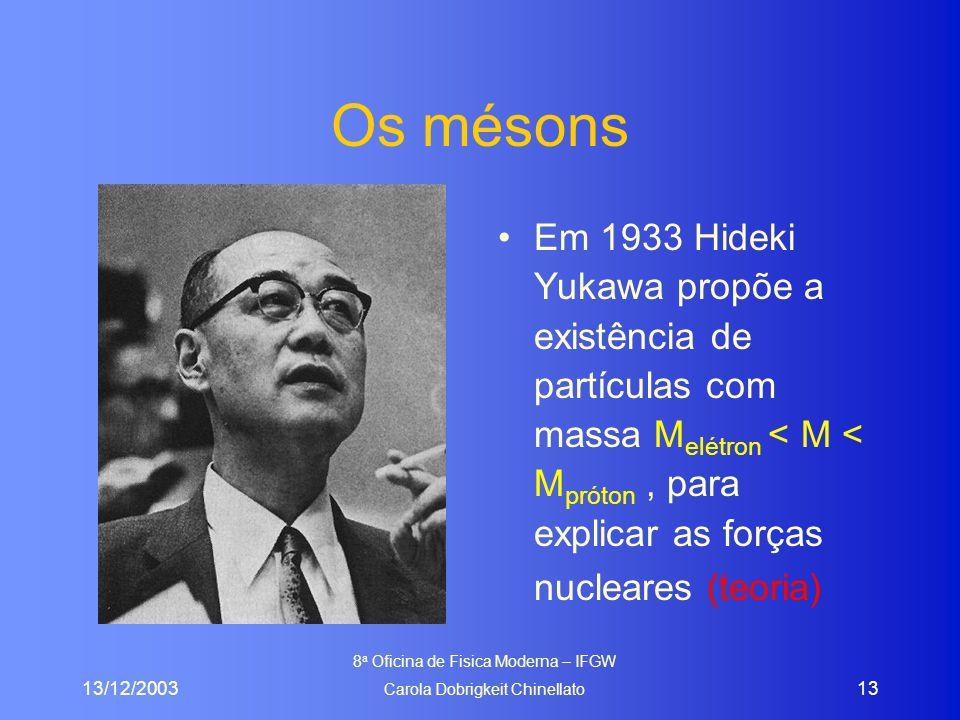 13/12/2003 8 a Oficina de Fisica Moderna – IFGW Carola Dobrigkeit Chinellato 13 Os mésons Em 1933 Hideki Yukawa propõe a existência de partículas com