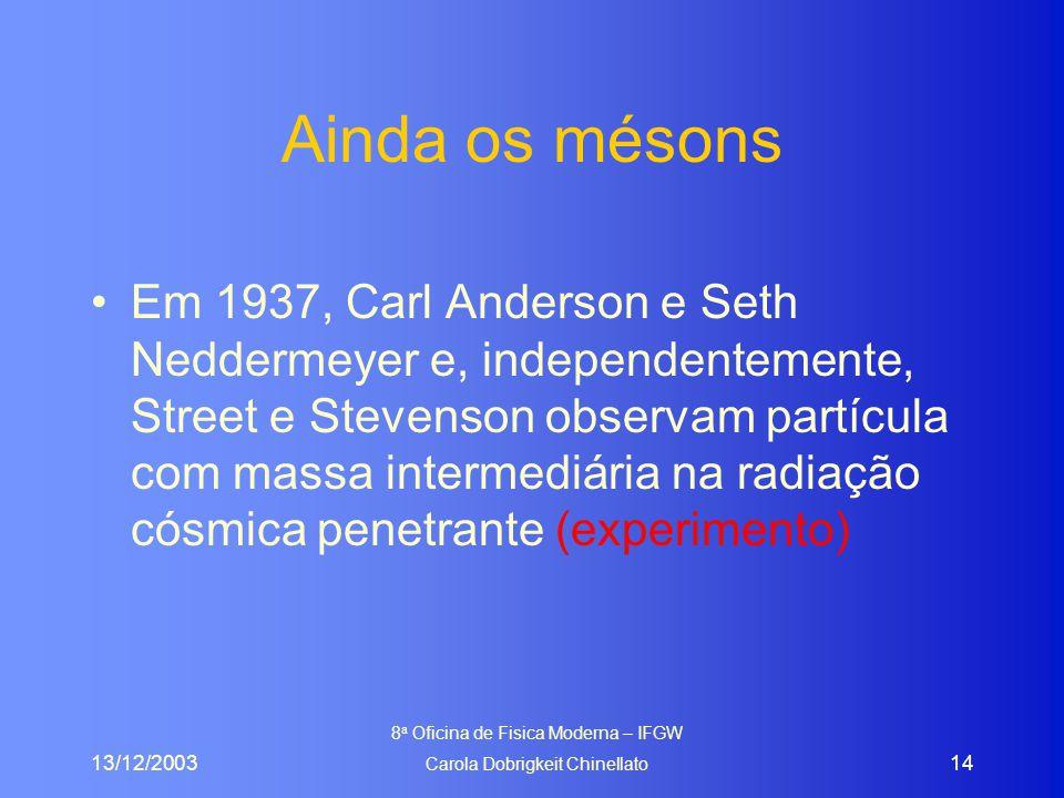 13/12/2003 8 a Oficina de Fisica Moderna – IFGW Carola Dobrigkeit Chinellato 14 Ainda os mésons Em 1937, Carl Anderson e Seth Neddermeyer e, independe