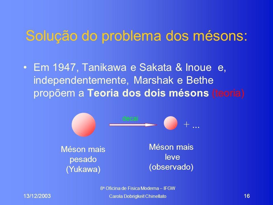 13/12/2003 8 a Oficina de Fisica Moderna – IFGW Carola Dobrigkeit Chinellato 16 Solução do problema dos mésons: Em 1947, Tanikawa e Sakata & Inoue e, independentemente, Marshak e Bethe propõem a Teoria dos dois mésons (teoria) decai +...