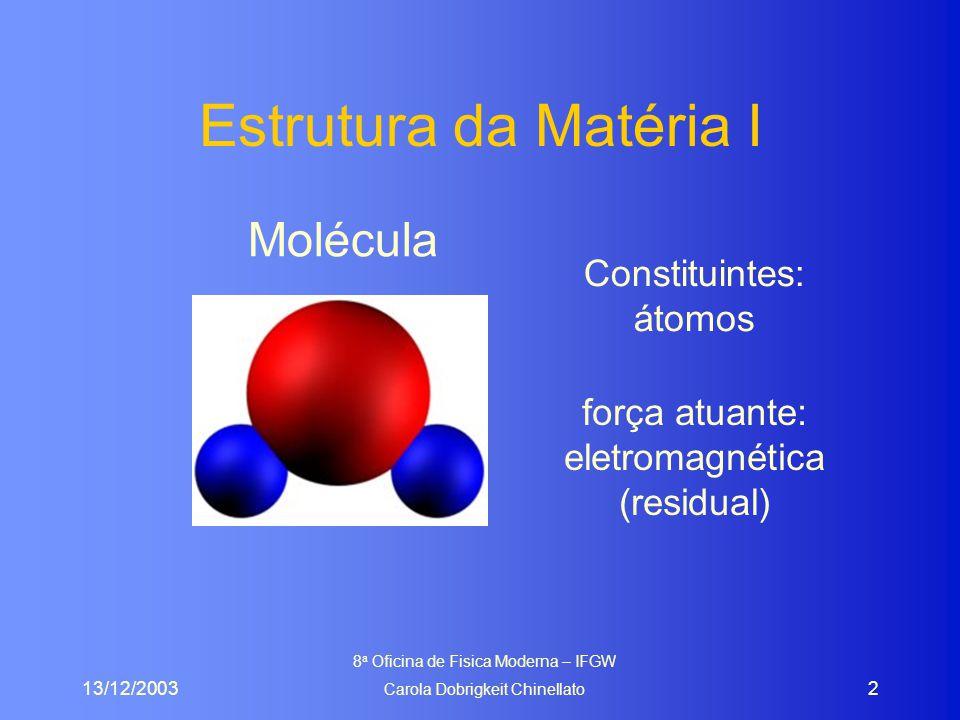 13/12/2003 8 a Oficina de Fisica Moderna – IFGW Carola Dobrigkeit Chinellato 43 Exemplos p  uud (  ); carga +2/3+2/3-1/3 = +1 n  udd (  ); carga +2/3-1/3-1/3 = 0  +  uud (  ); carga +2/3+2/3-1/3 = +1  ++  uuu (  ); carga +2/3+2/3+2/3 = +2  -  sss (  );  -  ddd  +  u (  ); carga +2/3-1/3 = 1
