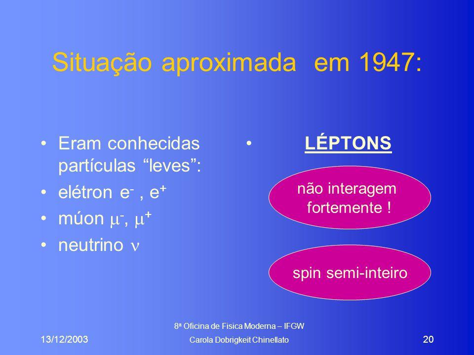 13/12/2003 8 a Oficina de Fisica Moderna – IFGW Carola Dobrigkeit Chinellato 20 Situação aproximada em 1947: Eram conhecidas partículas leves : elétron e -, e + múon  -,  + neutrino LÉPTONS não interagem fortemente .
