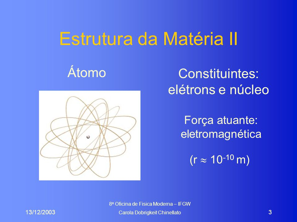 13/12/2003 8 a Oficina de Fisica Moderna – IFGW Carola Dobrigkeit Chinellato 4 Estrutura da Matéria III NúcleoConstituintes: prótons e nêutrons Força atuante: forte (residual) (r  10 -14 m)