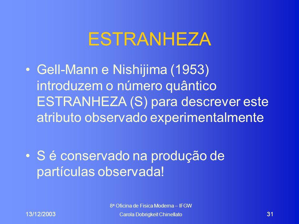 13/12/2003 8 a Oficina de Fisica Moderna – IFGW Carola Dobrigkeit Chinellato 31 ESTRANHEZA Gell-Mann e Nishijima (1953) introduzem o número quântico ESTRANHEZA (S) para descrever este atributo observado experimentalmente S é conservado na produção de partículas observada!