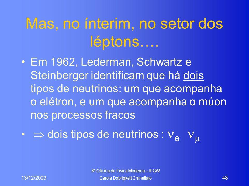 13/12/2003 8 a Oficina de Fisica Moderna – IFGW Carola Dobrigkeit Chinellato 48 Mas, no ínterim, no setor dos léptons…. Em 1962, Lederman, Schwartz e