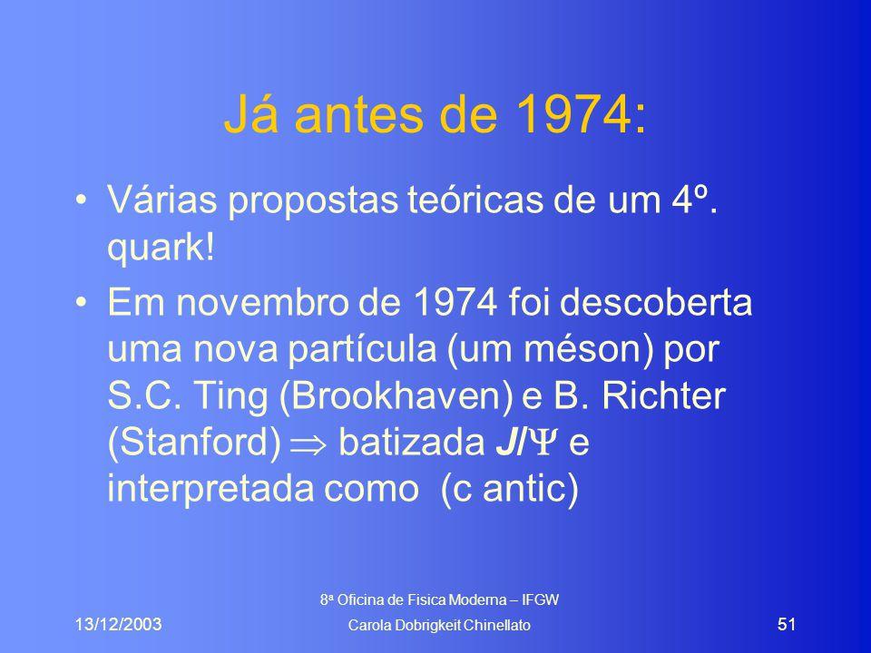 13/12/2003 8 a Oficina de Fisica Moderna – IFGW Carola Dobrigkeit Chinellato 51 Já antes de 1974: Várias propostas teóricas de um 4º. quark! Em novemb