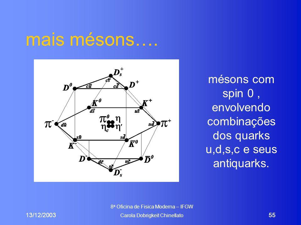 13/12/2003 8 a Oficina de Fisica Moderna – IFGW Carola Dobrigkeit Chinellato 55 mais mésons…. mésons com spin 0, envolvendo combinações dos quarks u,d