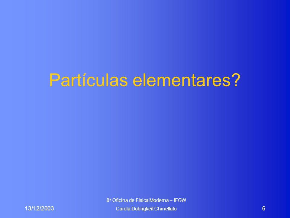 13/12/2003 8 a Oficina de Fisica Moderna – IFGW Carola Dobrigkeit Chinellato 7 RETROSPECTIVA HISTÓRICA até 1932 eram conhecidos: –prótons (m p =938,27 MeV/c 2 ), elétrons (m e = 0,511 MeV/c 2 ) e fótons (m  =0) em 1932: foi descoberto o nêutron por Chadwick (m n =939,565 MeV/c 2 ),