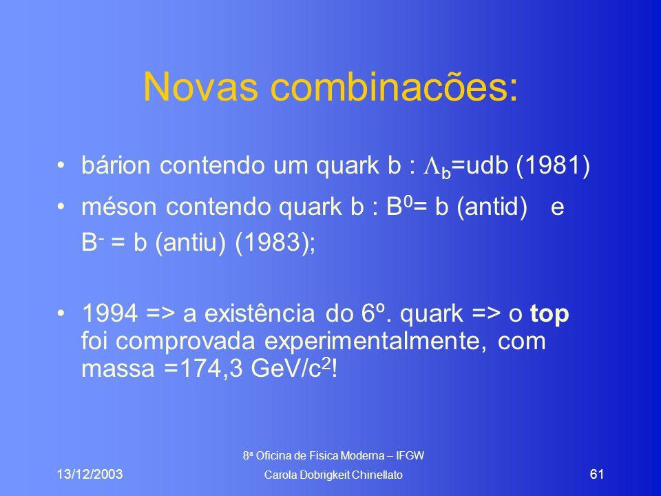 13/12/2003 8 a Oficina de Fisica Moderna – IFGW Carola Dobrigkeit Chinellato 61 Novas combinacões: bárion contendo um quark b :  b =udb (1981) méson contendo quark b : B 0 = b (antid) e B - = b (antiu) (1983); 1994 => a existência do 6º.