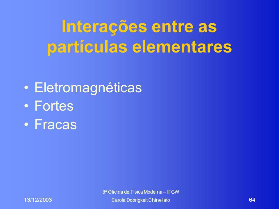 13/12/2003 8 a Oficina de Fisica Moderna – IFGW Carola Dobrigkeit Chinellato 64 Interações entre as partículas elementares Eletromagnéticas Fortes Fra