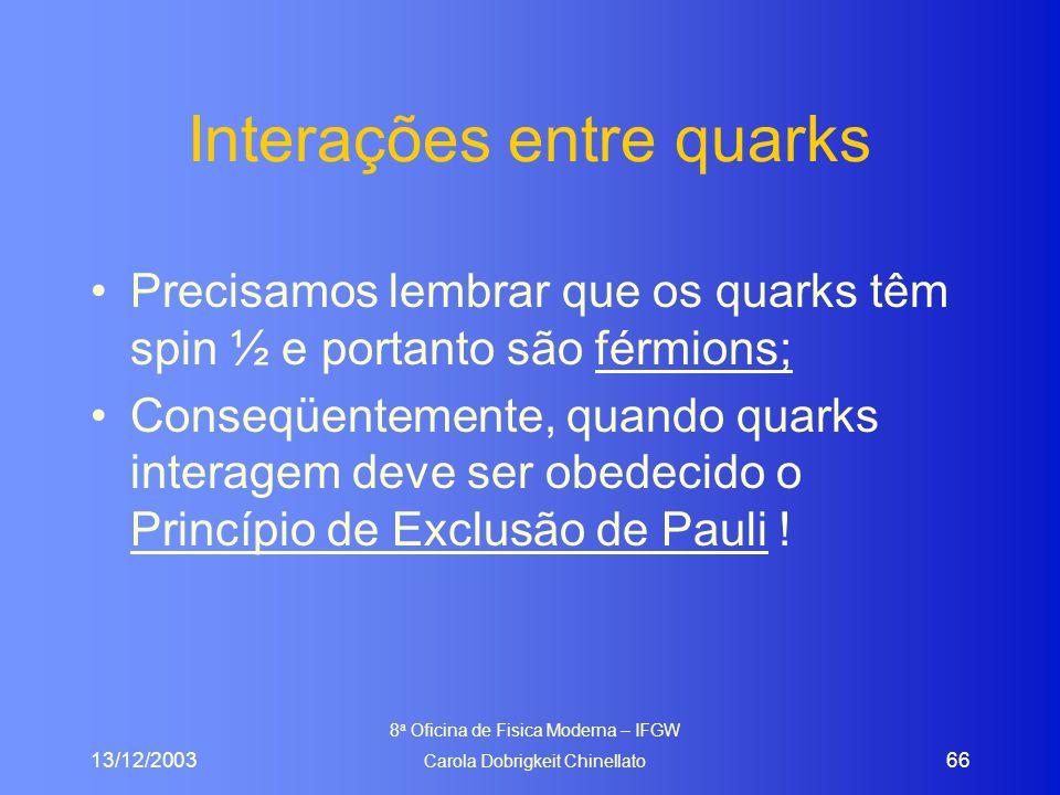 13/12/2003 8 a Oficina de Fisica Moderna – IFGW Carola Dobrigkeit Chinellato 66 Interações entre quarks Precisamos lembrar que os quarks têm spin ½ e portanto são férmions; Conseqüentemente, quando quarks interagem deve ser obedecido o Princípio de Exclusão de Pauli !