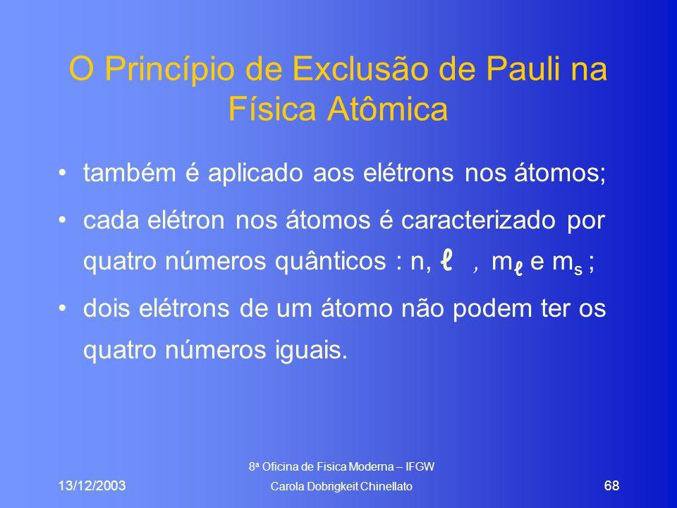 13/12/2003 8 a Oficina de Fisica Moderna – IFGW Carola Dobrigkeit Chinellato 68 O Princípio de Exclusão de Pauli na Física Atômica também é aplicado aos elétrons nos átomos; cada elétron nos átomos é caracterizado por quatro números quânticos : n, ℓ, m ℓ e m s ; dois elétrons de um átomo não podem ter os quatro números iguais.