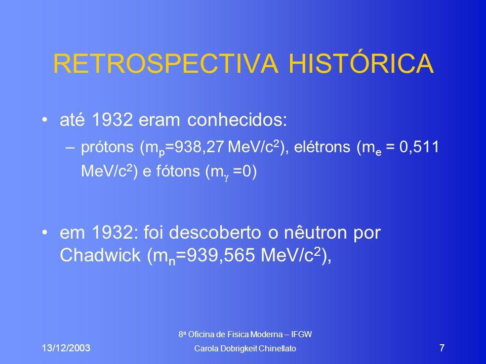 13/12/2003 8 a Oficina de Fisica Moderna – IFGW Carola Dobrigkeit Chinellato 8 Unidades de energia e massa Unidade de energia 1 eV = 1,6 x 10 –19 J –1MeV  10 6 eV (megaeletronvolt) –1GeV  10 9 eV (gigaeletronvolt) –1TeV  10 12 eV (teraeletronvolt) Unidade de massa 1eV/c 2 ( E=mc 2 ) –1eV/c 2  1,78 x 10 -36 kg