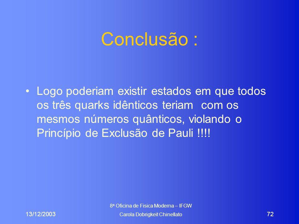 13/12/2003 8 a Oficina de Fisica Moderna – IFGW Carola Dobrigkeit Chinellato 72 Conclusão : Logo poderiam existir estados em que todos os três quarks idênticos teriam com os mesmos números quânticos, violando o Princípio de Exclusão de Pauli !!!!