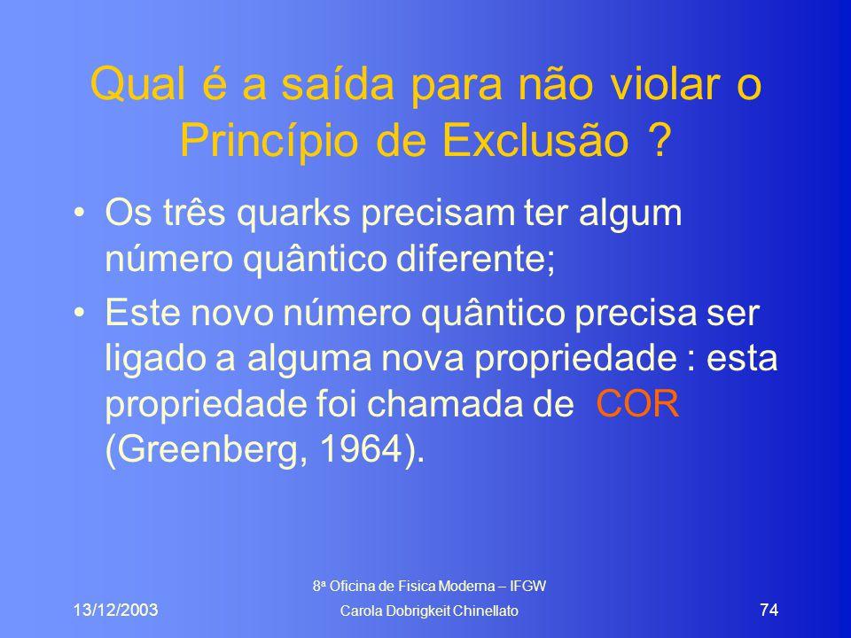 13/12/2003 8 a Oficina de Fisica Moderna – IFGW Carola Dobrigkeit Chinellato 74 Qual é a saída para não violar o Princípio de Exclusão ? Os três quark