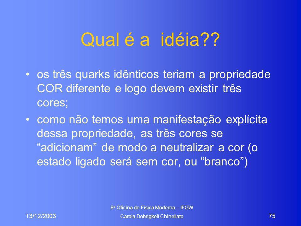 13/12/2003 8 a Oficina de Fisica Moderna – IFGW Carola Dobrigkeit Chinellato 75 Qual é a idéia?? os três quarks idênticos teriam a propriedade COR dif