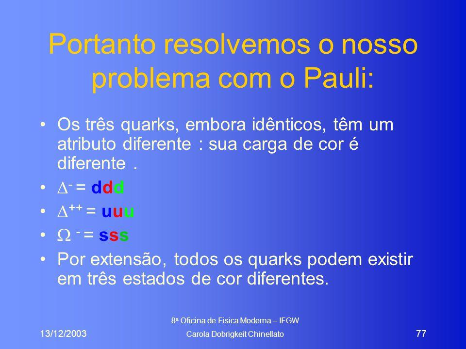13/12/2003 8 a Oficina de Fisica Moderna – IFGW Carola Dobrigkeit Chinellato 77 Portanto resolvemos o nosso problema com o Pauli: Os três quarks, embora idênticos, têm um atributo diferente : sua carga de cor é diferente.