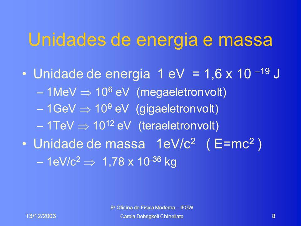 13/12/2003 8 a Oficina de Fisica Moderna – IFGW Carola Dobrigkeit Chinellato 8 Unidades de energia e massa Unidade de energia 1 eV = 1,6 x 10 –19 J –1