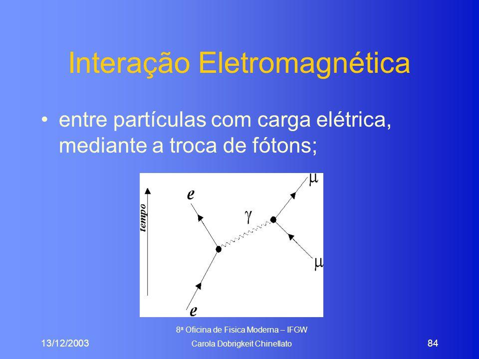 13/12/2003 8 a Oficina de Fisica Moderna – IFGW Carola Dobrigkeit Chinellato 84 Interação Eletromagnética entre partículas com carga elétrica, mediant