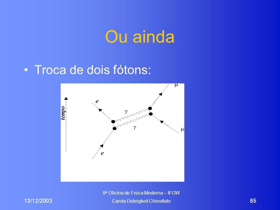 13/12/2003 8 a Oficina de Fisica Moderna – IFGW Carola Dobrigkeit Chinellato 85 Ou ainda Troca de dois fótons: