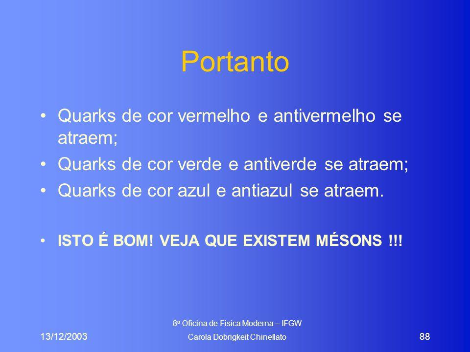 13/12/2003 8 a Oficina de Fisica Moderna – IFGW Carola Dobrigkeit Chinellato 88 Portanto Quarks de cor vermelho e antivermelho se atraem; Quarks de co
