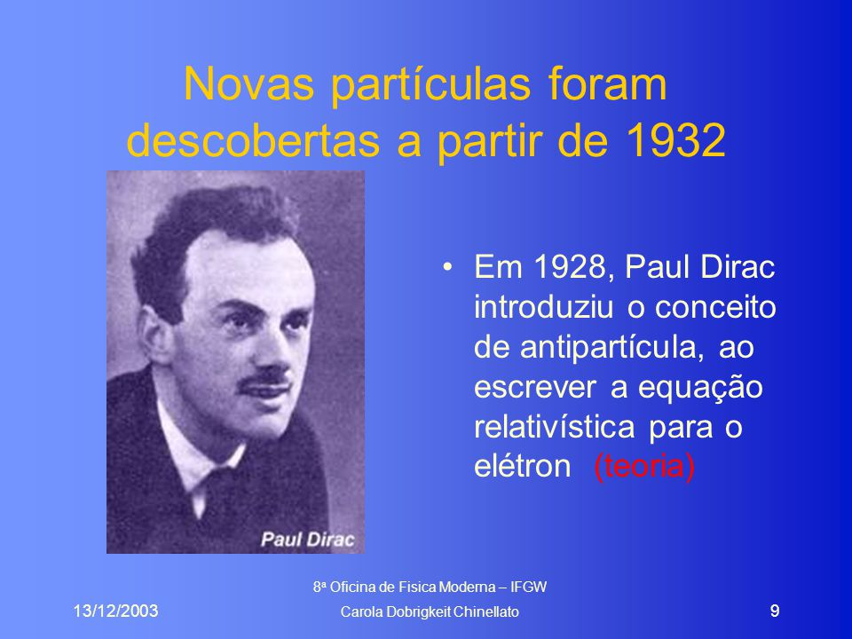 13/12/2003 8 a Oficina de Fisica Moderna – IFGW Carola Dobrigkeit Chinellato 9 Novas partículas foram descobertas a partir de 1932 Em 1928, Paul Dirac introduziu o conceito de antipartícula, ao escrever a equação relativística para o elétron (teoria)