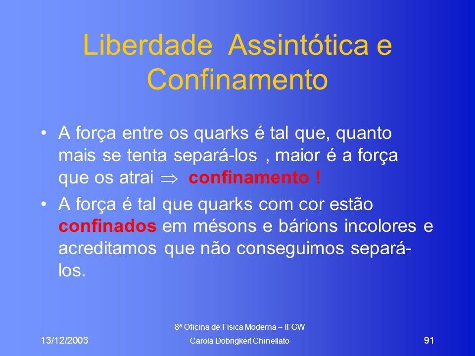 13/12/2003 8 a Oficina de Fisica Moderna – IFGW Carola Dobrigkeit Chinellato 91 Liberdade Assintótica e Confinamento A força entre os quarks é tal que, quanto mais se tenta separá-los, maior é a força que os atrai  confinamento .