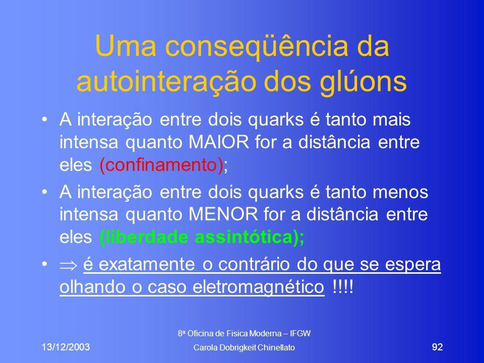 13/12/2003 8 a Oficina de Fisica Moderna – IFGW Carola Dobrigkeit Chinellato 92 Uma conseqüência da autointeração dos glúons A interação entre dois quarks é tanto mais intensa quanto MAIOR for a distância entre eles (confinamento); A interação entre dois quarks é tanto menos intensa quanto MENOR for a distância entre eles (liberdade assintótica);  é exatamente o contrário do que se espera olhando o caso eletromagnético !!!!